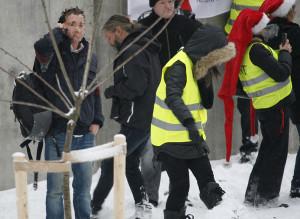 28-åringen, helt til venstre, under NDLs demonstrasjon i desember.
