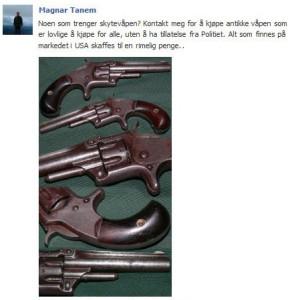 Slik annonserte Tanem våpnene han importerer.