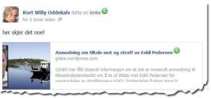 Slik så statusen ut som Oddekalv la ut om Eskil Pedersen.