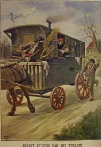 En forestilling er at roma stjal bøndenes unger, som fremstilt på denne franske plakaten.