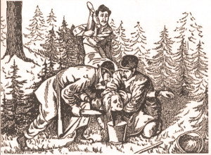 Gammelt polsk postkort som viser det angivelige raitualmordet på 19 år gamle Agnes Hroza i 1899. En jøde ved navn Hilsner ble dømt i saken.