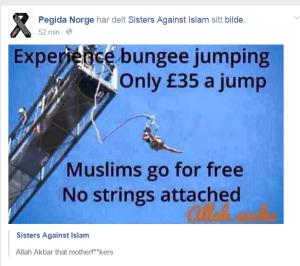 Dette bildet ble fredag lagt ut av PEGIDA Norge på Facebook.