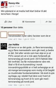 Holthe ser terror og døde nordmenn som en politisk fordel.