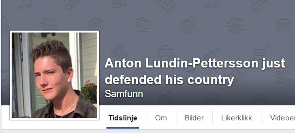 Den første støttesiden for Anton Lundin Pettersson på Facebook er allerede et faktum